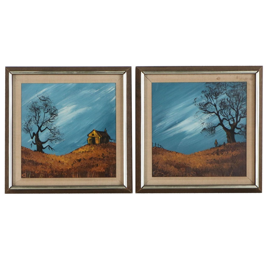 Naive Style Diptych Acrylic Painting of House and Figures on Rolling Hills