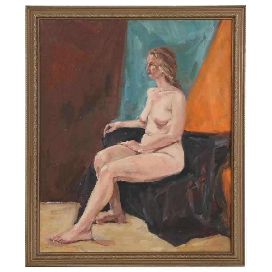 Bill Jacobson Figure Oil Painting of Seated Female Nude