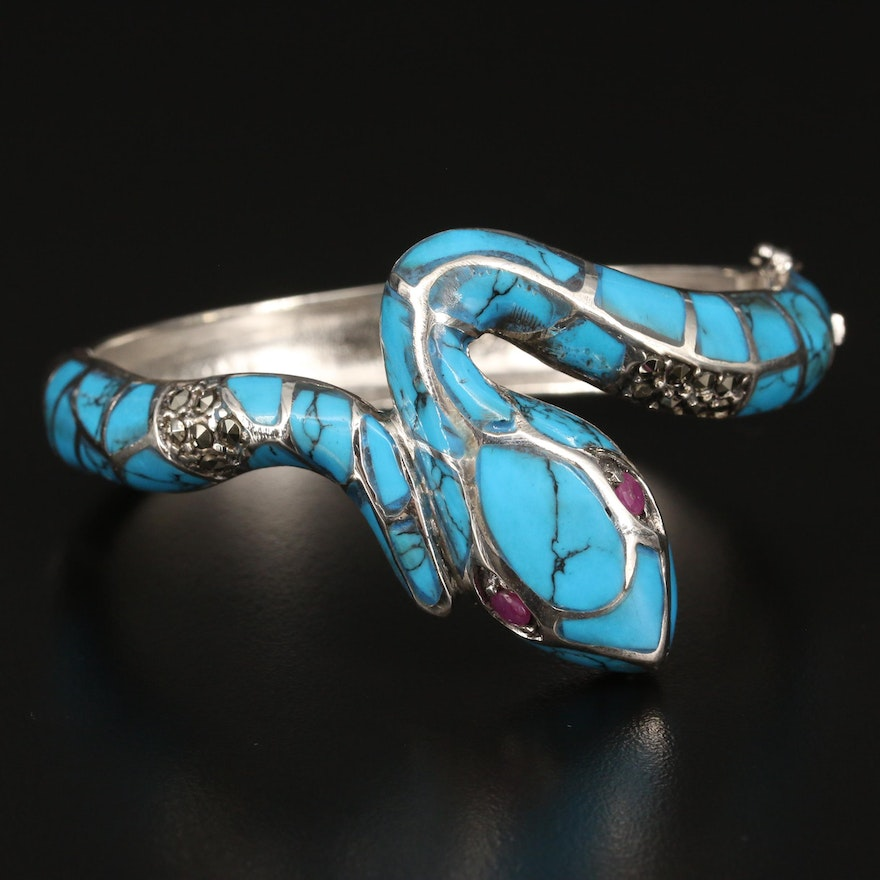 Sterling Silver Faux Turquoise, Ruby and Marcasite Snake Cuff