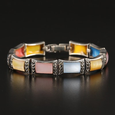 Sterling Silver Mother of Pearl and Marcasite Panel Bracelet