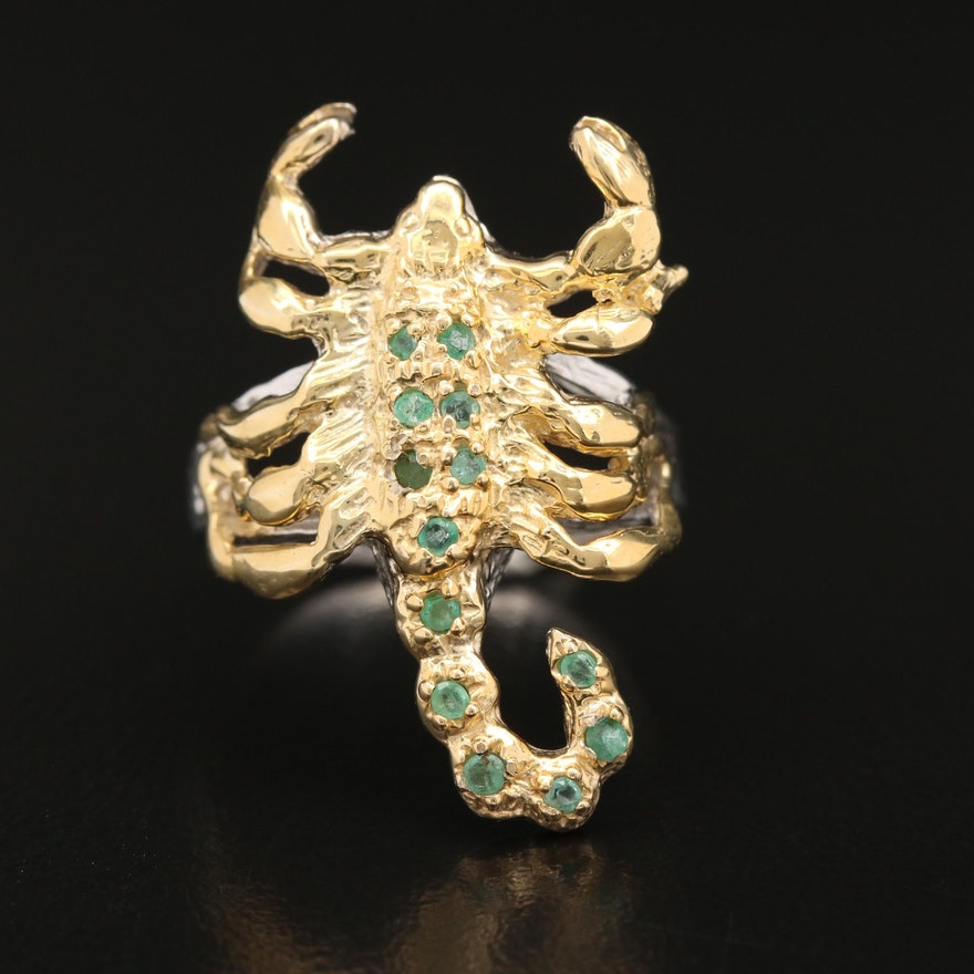 Sterling Silver Emerald Scorpion Ring