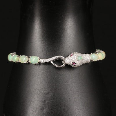 Sterling Silver Opal, Ruby and Cubic Zirconia Snake Motif Bracelet