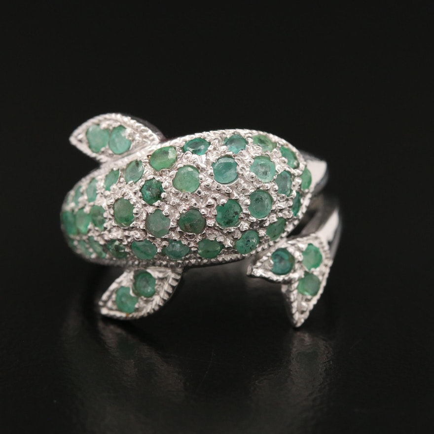 Sterling Silver Emerald Dolphin Ring