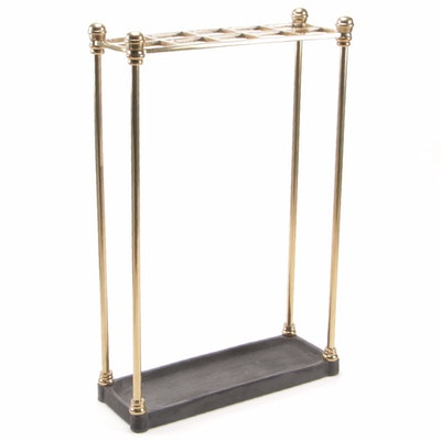 English Brass and Cast Iron Umbrella and Walking Stick Stand, Mid-20th Century