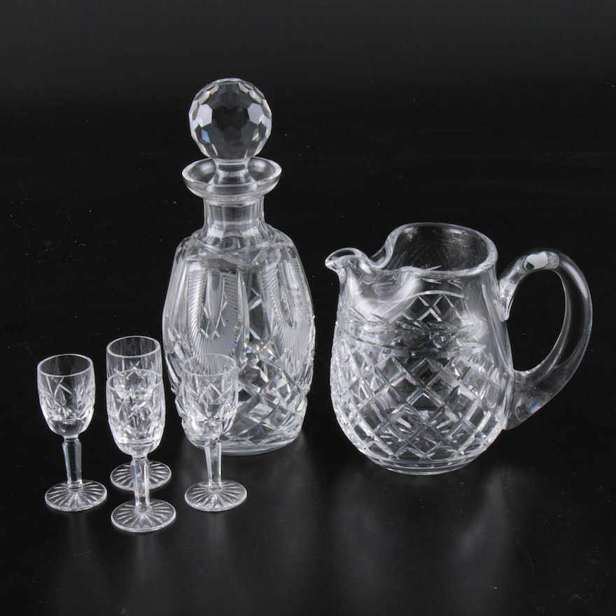 """Waterford Crystal """"WAT31"""" Decanter, """"Glandore"""" Pitcher and """"Araglin"""" Cordials"""
