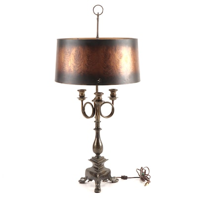 Frederick Cooper Patinated Brass Bouillotte Table Lamp with Shade