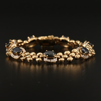 Vintage Sapphire and Diamond Panther Link Bracelet