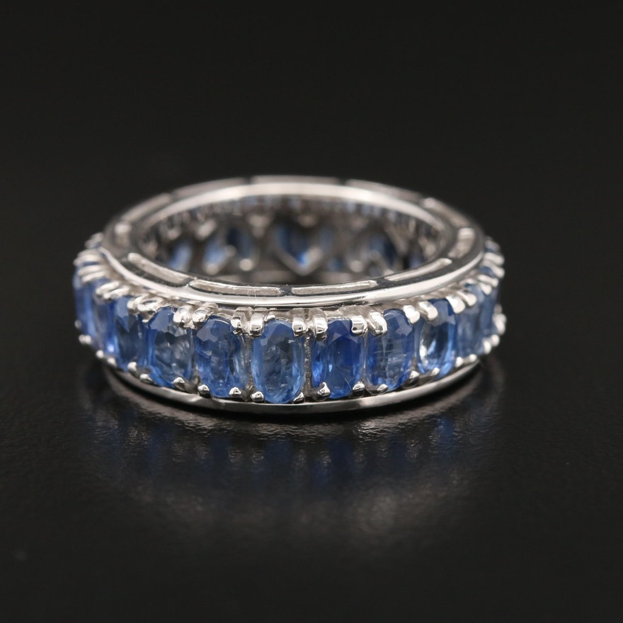 Sterling Silver Spinning Kyanite Eternity Band