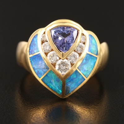18K Tanzanite, Diamond and Opal Inlay Ring