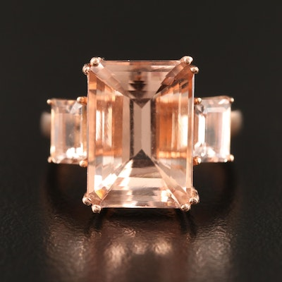 10K Rose Gold Morganite Ring with 7.39 CT Center