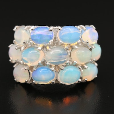 Sterling Silver Opal Triple Row Ring