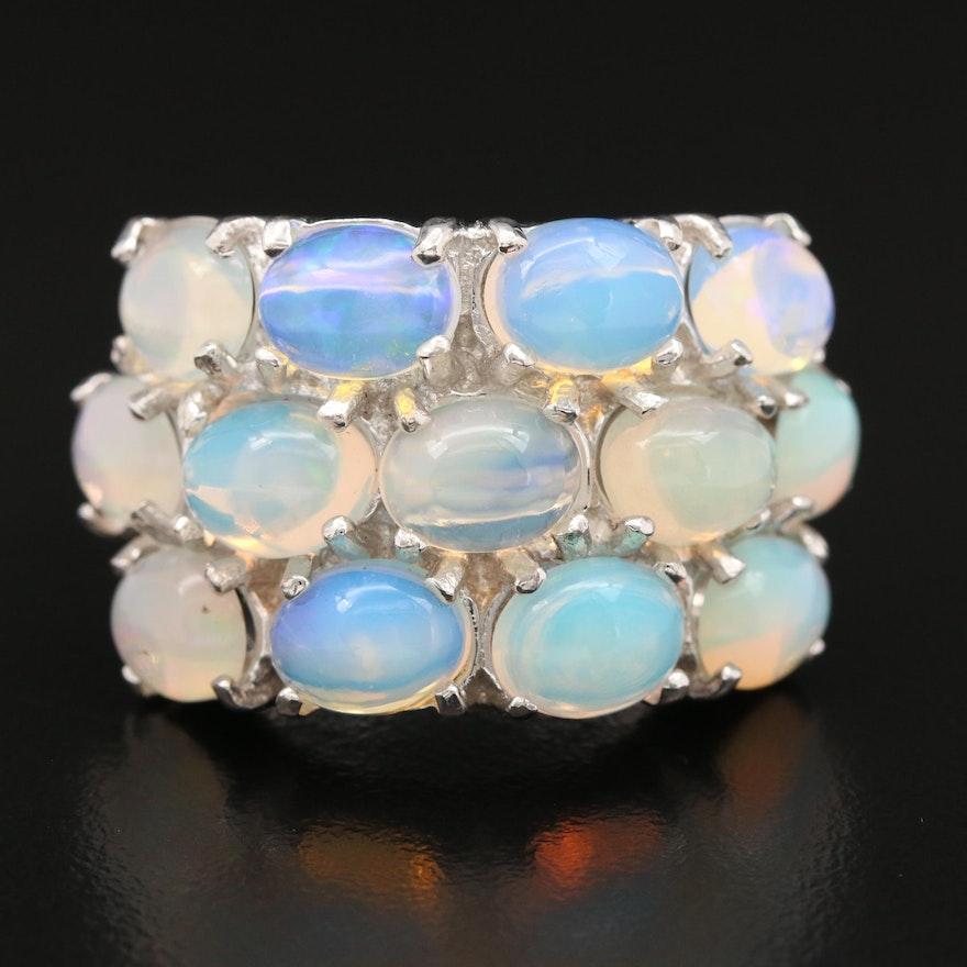 Sterling Silver Opal Triple Row Ring