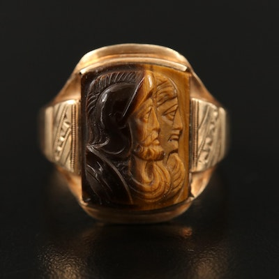 Vintage 10K Carved Tiger's Eye Double Cameo Roman Solder Ring