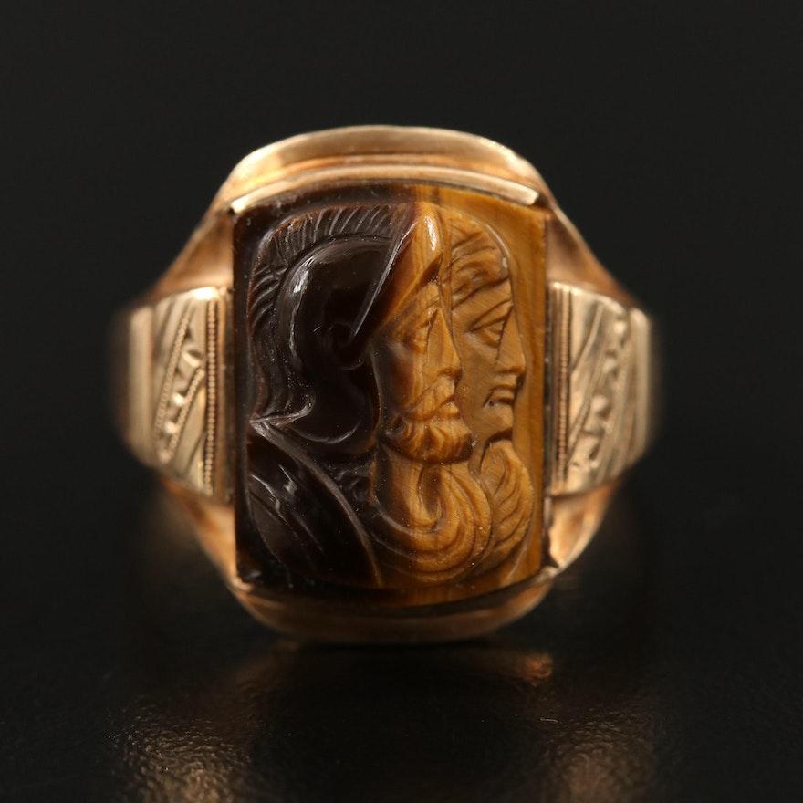 Circa 1900 10K Carved Tiger's Eye Capita Jugata Roman Solder Ring