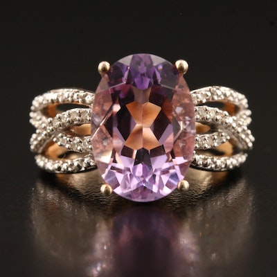 Sterling Silver Amethyst and Diamond Crossover Ring