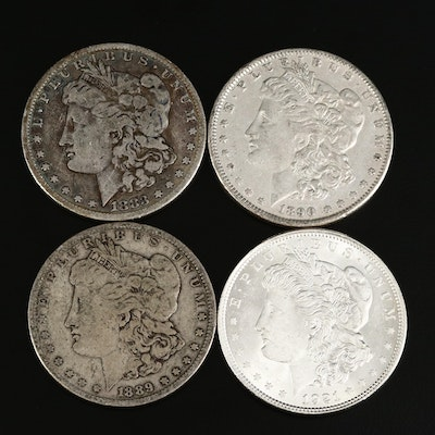 1883-S, 1889-O, 1890 and 1921 Morgan Silver Dollars