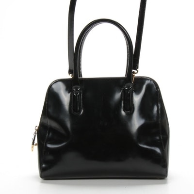 Furla Convertible Top Handle Two-Way Bag in Black Glazed Leather
