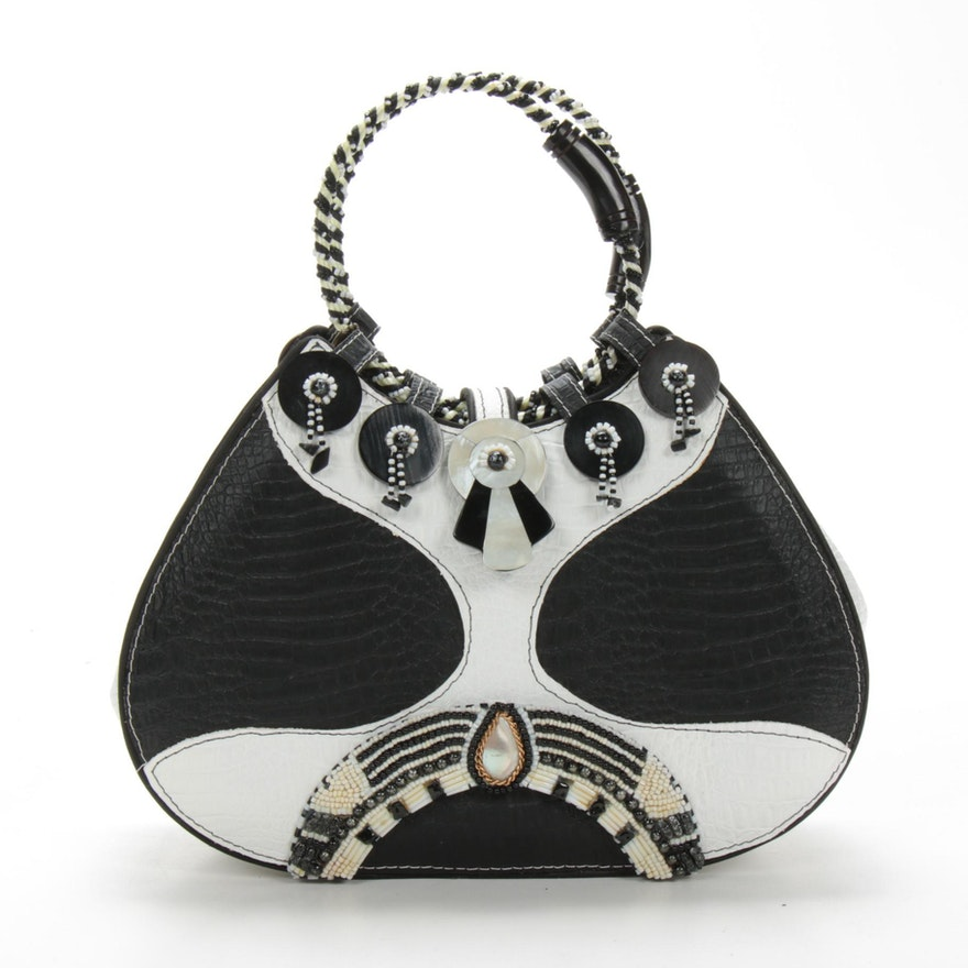 Mary Frances Bead Embellished Handbag in Black and White Embossed Leather