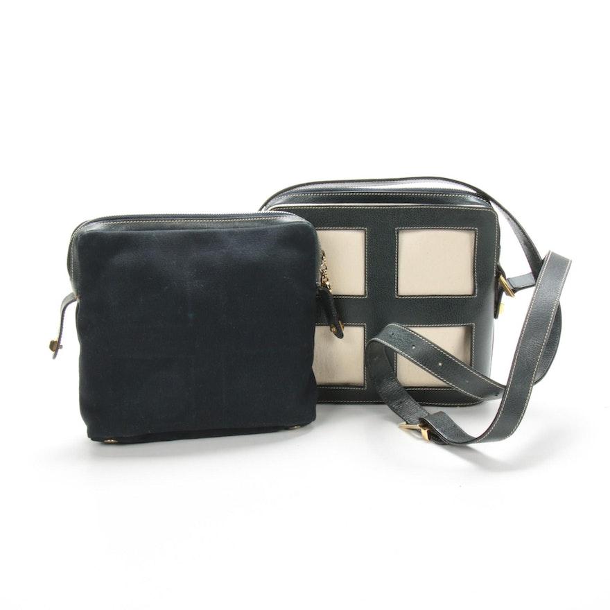 Salvatore Ferragamo Interchangeable Shoulder Bag in Leather and Canvas
