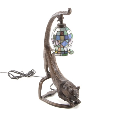 Cat Stretching Figure Table Lamp with Slag Glass Shade