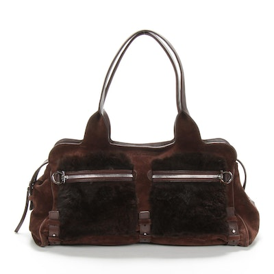 Salvatore Ferragamo Satchel in Suede and Rabbit Fur