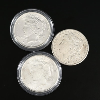 Morgan Silver Dollar and Two Peace Silver Dollars
