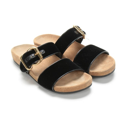 Prada Calzature Donna Slide Sandals in Black Velvet and Leather