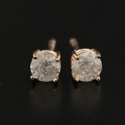 14K Rose Gold 0.67 CTW Diamond Stud Earrings