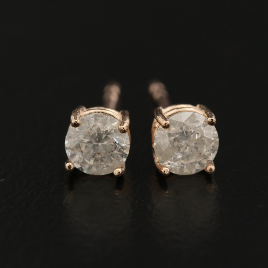 14K Rose Gold 0.67 CTW Diamond Stud Earrings