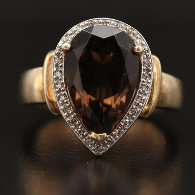 Sterling Silver Smoky Quartz and Diamond Teardrop Ring