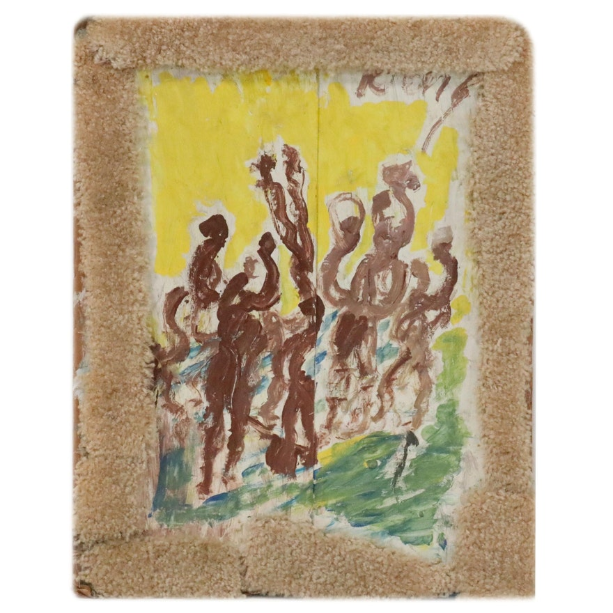 Purvis Young Abstract Figural Mixed Media Painting