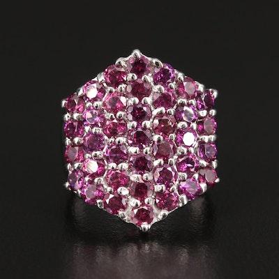 Sterling Silver Rhodolite Garnet Cluster Ring