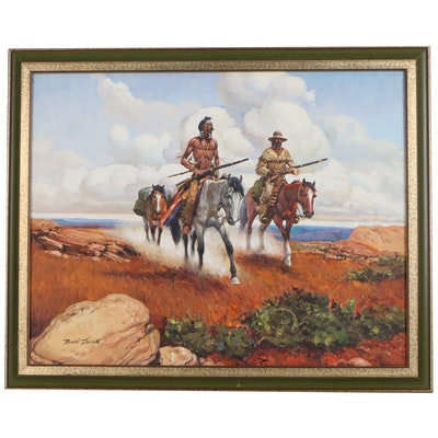 Burl Davis Western Oil Painting of Native American and Frontiersman on Horseback
