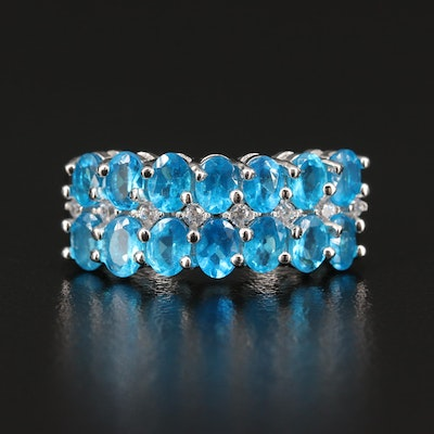 Sterling Silver Apatite and Cubic Zirconia Ring