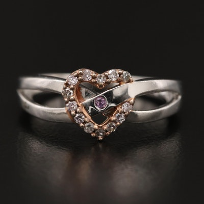 Sterling Silver Sapphire and Diamond Crossover Heart Ring