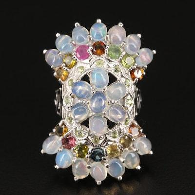 Sterling Silver Opal, Tourmaline and Peridot Ring