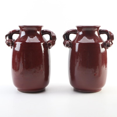Ceramic Urns with Twisted Pomegranate Shaped Handles, Late 20th Century