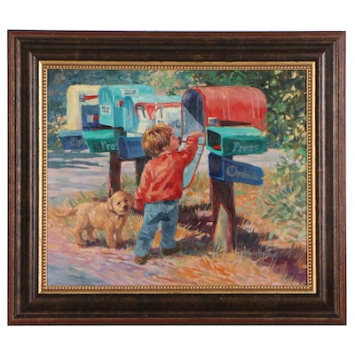 Corinne Hartley Impressionistic Oil Painting of Boy and Dog at Mailboxes