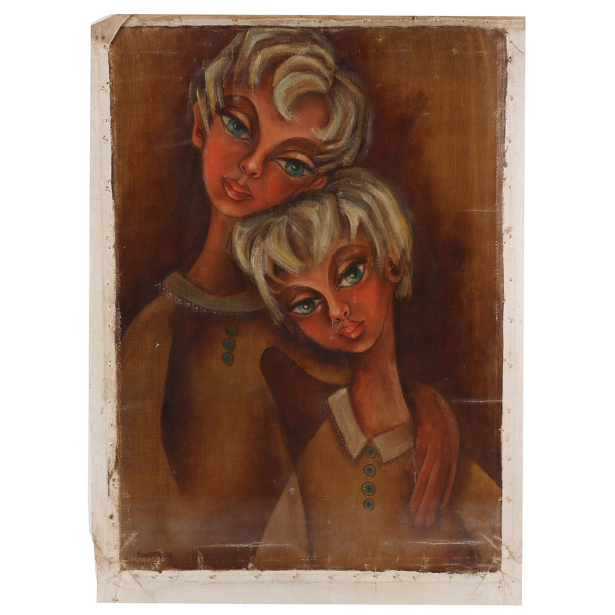 "Jane Bickford Oil Painting ""Kinderen"""