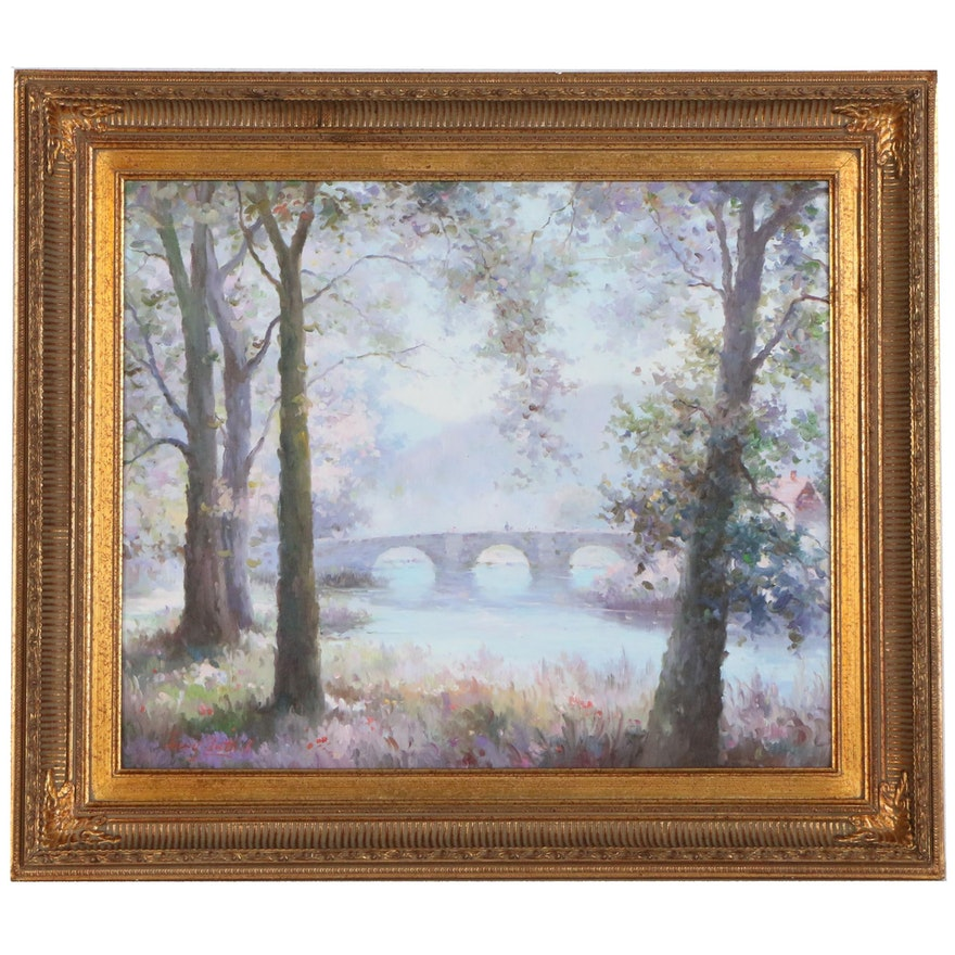 Jerry Tuthill Impressionist Style Oil Painting of River Scene with Bridge