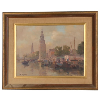 Jan Knikker Jr. Oil Painting of Dutch Canal Scene