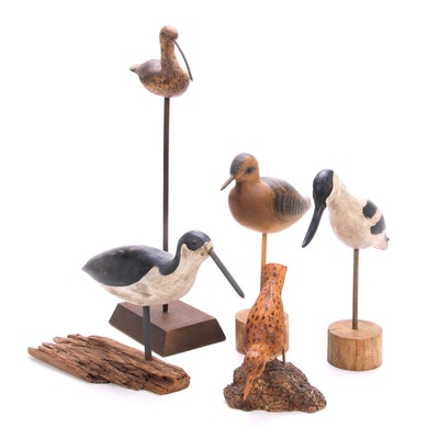 Bill Dehos Carved and Painted Wooden Birds, Late 20th to 21st Century