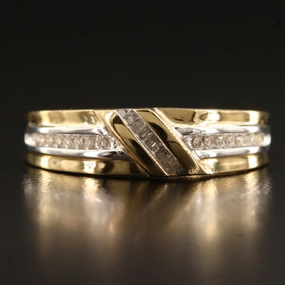 Sterling Silver Diamond Channel Band