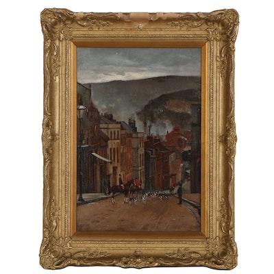 "Francesco Raffaello Santoro Street Scene Oil Painting ""Lewes"", 1884"