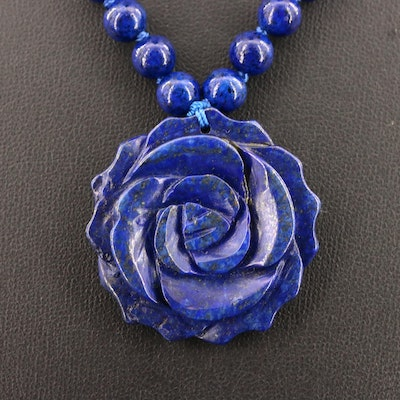 Lapis Lazuli Carved Rose Pendant on Beaded Necklace with Sterling Silver Clasp
