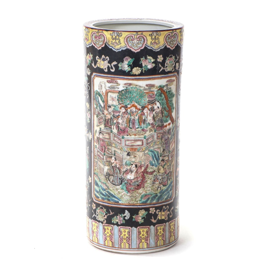 Chinese Hand-Painted Ceramic Umbrella Stand