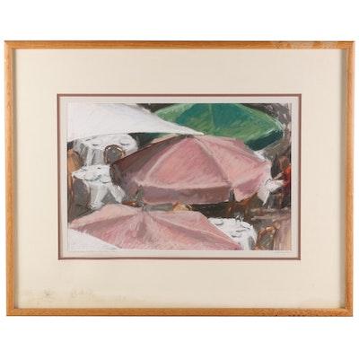 """Jody DePew McLeane Pastel Drawing """"Rockefeller Center"""""""