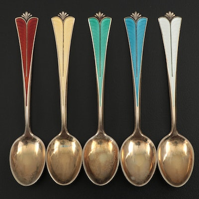 David-Anderson Enameled Vermeil Sterling Demitasse Spoons, Early 20th Century