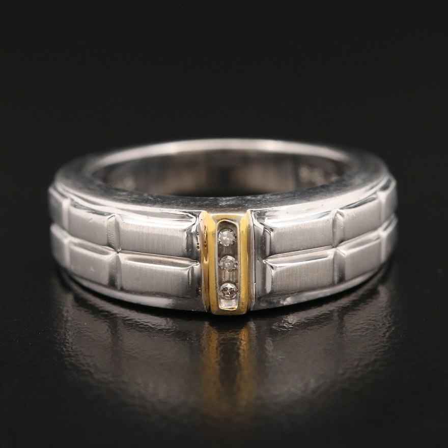 Sterling Silver Diamond Ring with 10K Accent