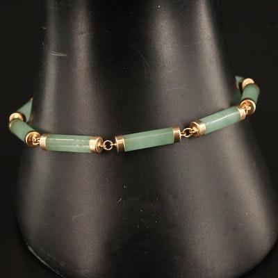 14K Jadeite Bar Link Bracelet